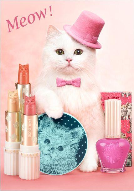 Chat chic: campagne de maquillage de mew-valous de paul et joe