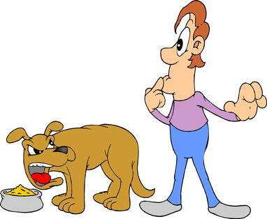 Dessin animé de chien montrant l`agression alimentaire envers le propriétaire